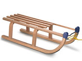 Wooden sledge on white, clipping path — Stock Photo