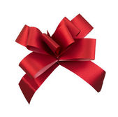 Red gift ribbon, clipping path — Stock Photo