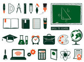 Conjunto de útiles escolares — Vector de stock