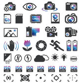 Photo camera icons — Vettoriale Stock