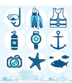 Underwater icons — Stock Vector