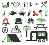 Camping icons set — Stockvektor