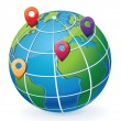 Globe with location pointers — Stockvector #12382615