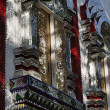 Thailand, Bangkok, Imperial city, shiny mirror ornamental tiles on the windows of a Buddhist temple — Stock Photo