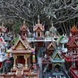 Thailand, Ayutthaya, these votive miniature temples are left in this sacred place by Thai in memory of their dead relatives - Lizenzfreies Foto