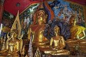 Thailand, Chiangmai, golden Buddha statues in Prathat Doi Suthep Buddhist temple — Stock Photo