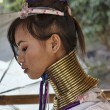 Stock Photo: Thailand, Chang Mai, Karen Long Neck hill tribe village (KayLahwi), Long Neck womin traditional costumes. Women put brass rings on their neck when they are 5 or 6 years old and increase numb