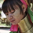 Stock Photo: Thailand, Chiang Mai, Karen Long Neck hill tribe village (KayLahwi), Long Neck womin traditional costumes. Women put brass rings on their neck when they are 5 or 6 years old