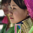 Постер, плакат: Thailand Chang Mai Karen Long Neck hill tribe village Kayan Lahwi Long Neck women in traditional costumes Women put brass rings on their neck when they are 5 or 6 years old and increase the numb