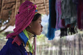 Thailand, Chiang Mai, Karen Long Neck hill tribe village (Kayan Lahwi), Long Neck woman in traditional costumes. Women put brass rings on their neck when they are 5 or 6 years old — Stockfoto