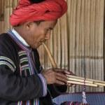 Thailand, Chiang Mai, Karen Long Neck hill tribe village (Kayan Lahwi), Karen man in traditional costumes playing a flute — Stock Photo #11311903