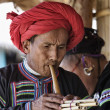 Thailand, Chiang Mai, Karen Long Neck hill tribe village (Kayan Lahwi), Karen man in traditional costumes playing a flute — Stock Photo #11312140