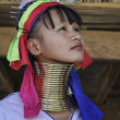 Stock Photo: Thailand, Chiang Mai, Karen Long Neck hill tribe village (KayLahwi), Long Neck womin traditional costumes. Women put brass rings on their neck when they are 5 or 6 years old and increase num