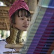 Thailand, Chang Mai, Karen Long Neck hill tribe village (Kayan Lahwi), Long Neck woman in traditional costumes. Women put brass rings on their neck when they are 5 or 6 years old and increase the numb — Stock Photo #11475121