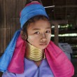 Stock Photo: Thailand, Chiang Mai, Karen Long Neck hill tribe village (BaTong Lhoung), Long Neck young girl in traditional costumes. Women put brass rings on their neck when they are 5 or 6 years old and increa