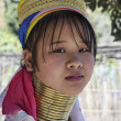 Stock Photo: Thailand, Chiang Mai, Karen Long Neck hill tribe village (BaTong Lhoung), Long Neck womin traditional costumes. Women put brass rings on their neck when they are 5 or 6 years old and increase th