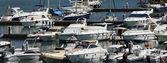 Italy, Sicily, Mediterranean sea, Marina di Ragusa, view of luxury yachts in the marina — Foto de Stock