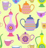 Teapots and cups — Stock Vector
