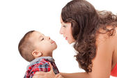 Pregnant woman and a little boy — Stock Photo