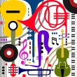 Stock Vector: Abstract musical instruments