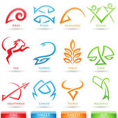 Simplistic zodiac star signs — Stockvector