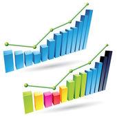 3d Stats Bars — Stock Vector