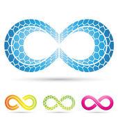 Simboli infinito con motivo a mosaico — Vettoriale Stock