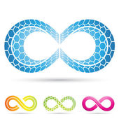 Infinity symbols with mosaic pattern — Stock Vector