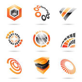 Various orange abstract icons, Set 7 — Stock Vector