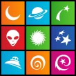 Metro style space icons - Stock Vector