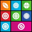 Metro style sports balls icons - Stock Vector