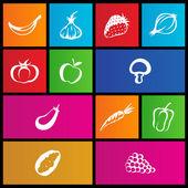 地铁样式的水果和蔬菜的图标 — Stock vektor