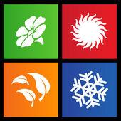 Quatre icônes de saisons style métro — Vecteur