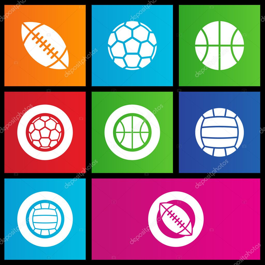 Vector illustration of metro style sports balls icons — Stock Vector #12231721