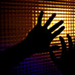 Silhouettes of hands - Stock Photo