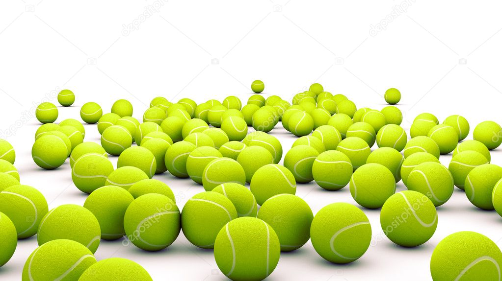 Many tennis ball isolated on white  — Stock Photo #11900409