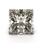 Princess cut diamond on white — Stock Photo