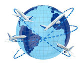 Concept of airplane travel — Stock Photo