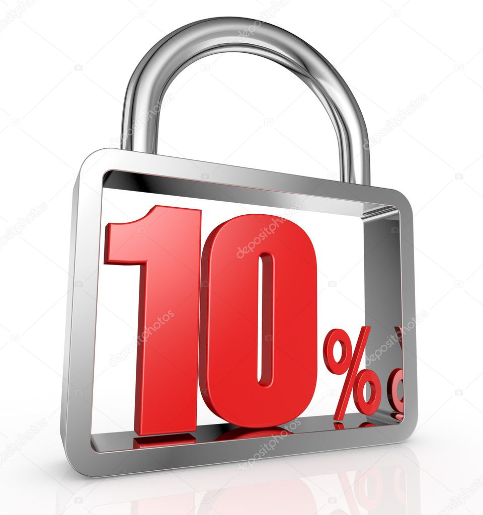 One padlock with the number ten and the percent symbol inside it (3d render)  Stock Photo #11621083