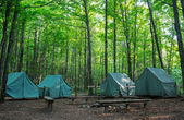 Camping Tents at Rustic Campground — Stock Photo