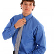 Happy Young Man with Blue Shirt and Tie — Stock Photo