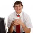 Stock Photo: Happy Young Worker at Office