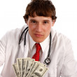 Man Holding Money with Smirk Expression — Foto Stock