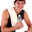 Healthy Young Man Workout on Treadmill Isolated — Stock Photo