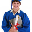 Happy Young Male Graduate Holding Laptop and Diploma — Stock Photo