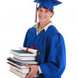 College Graduate Student Holding Books — Stock Photo