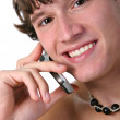 Healthy Young Man on Cellphone — Stock Photo