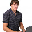 Confident Young Man Working on Computer — Stock Photo