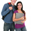 Foto Stock: Two Casual Dressed College Student Isolated