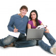 Stock Photo: Two young students studing